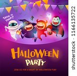 halloween celebration fun party.... | Shutterstock .eps vector #1166135722