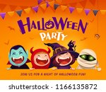 Stock vector halloween party group of kids in halloween costume with big signboard 1166135872