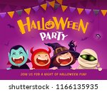 halloween party. group of kids... | Shutterstock .eps vector #1166135935