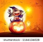 halloween little witch. girl... | Shutterstock .eps vector #1166136028