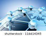 3d Image Of Blue Networking An...