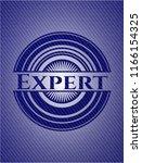 expert emblem with denim texture | Shutterstock .eps vector #1166154325