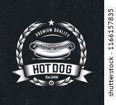 vintage hipster hot dog emblem... | Shutterstock .eps vector #1166157835