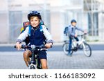 two school kid boys in safety... | Shutterstock . vector #1166183092