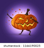 dabbing night halloween pumpkin ... | Shutterstock .eps vector #1166190025