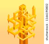 gold isometric tower  labyrinth ... | Shutterstock .eps vector #1166190802