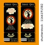 set of halloween ticket on... | Shutterstock .eps vector #1166191582