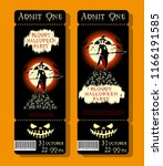 set of halloween ticket on... | Shutterstock .eps vector #1166191585