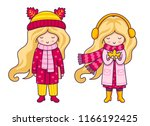 two cute blonde little girls.... | Shutterstock .eps vector #1166192425