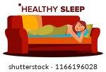 peacefully sleeping woman...   Shutterstock .eps vector #1166196028