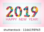 2019 happy new year greeting... | Shutterstock .eps vector #1166198965