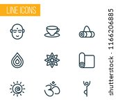 meditation icons line style set ... | Shutterstock .eps vector #1166206885