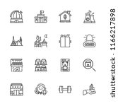 collection of 16 building... | Shutterstock .eps vector #1166217898