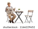 senior sitting at a coffee... | Shutterstock . vector #1166229652