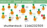 mega set of fifteen pineapples... | Shutterstock .eps vector #1166232505