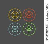 seasons flat vector icons | Shutterstock .eps vector #1166237398