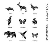 set of animals from polygons. | Shutterstock . vector #1166241772