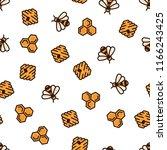 pattern yellow bee  bee hive... | Shutterstock .eps vector #1166243425