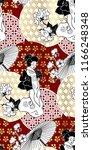 geisha girl fan umbrella kimono ... | Shutterstock .eps vector #1166248348