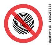 prohibiting sign fingerprint ... | Shutterstock . vector #1166253538