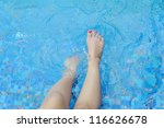 legs relaxing and pool | Shutterstock . vector #116626678