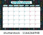 cute monthly planner for 2019... | Shutterstock .eps vector #1166266948