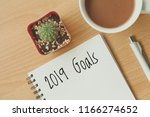 top view of 2019 goals on... | Shutterstock . vector #1166274652