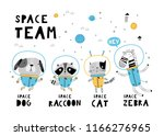 Stock vector space team card template with cute animals hand drawn graphic for typography poster card label 1166276965