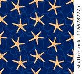 starfish blue background.... | Shutterstock .eps vector #1166282275