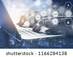 iot internet of things concept. ... | Shutterstock . vector #1166284138