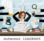 stressed cartoon business woman ... | Shutterstock .eps vector #1166284645