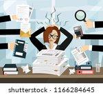 stressed cartoon business woman ... | Shutterstock .eps vector #1166284645