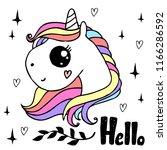 white unicorn head with rainbow ... | Shutterstock .eps vector #1166286592