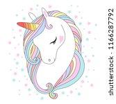 white unicorn head vector... | Shutterstock .eps vector #1166287792