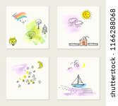 set of hand drawn ink and... | Shutterstock .eps vector #1166288068