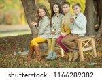 children's fashion in autumn  | Shutterstock . vector #1166289382