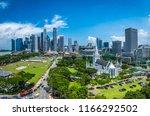 singapore city skyline of... | Shutterstock . vector #1166292502