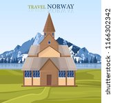 travel to norway postcard with... | Shutterstock .eps vector #1166302342