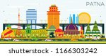 patna india city skyline with... | Shutterstock .eps vector #1166303242