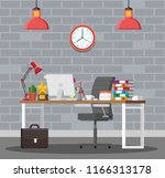 office desk with computer chair ... | Shutterstock .eps vector #1166313178