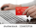 man holding credit card in hand ...   Shutterstock . vector #116631916