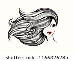 beautiful woman with long  wavy ... | Shutterstock .eps vector #1166326285