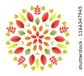 autumnal mandala. fall colorful ... | Shutterstock .eps vector #1166347945