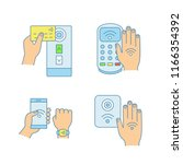 nfc technology color icons set. ... | Shutterstock .eps vector #1166354392