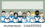group of choir singers with...   Shutterstock .eps vector #1166355502