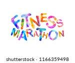 fitness marathon. words written ...   Shutterstock .eps vector #1166359498