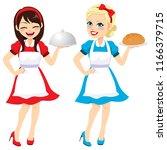 two different happy brunette... | Shutterstock .eps vector #1166379715
