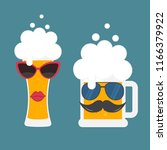 beer glass with sunglasses and...   Shutterstock .eps vector #1166379922
