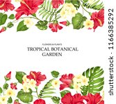 summer vacation card. tropical... | Shutterstock .eps vector #1166385292