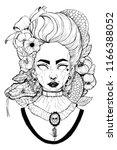 gothic girl black and white...   Shutterstock . vector #1166388052